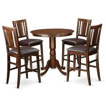 Most Recently Released East West Trenton 5 Piece Counter Height Solid Wood Pub Pertaining To Overstreet Bar Height Dining Tables (View 15 of 25)