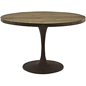 """Most Recently Released Exeter 48'' Pedestal Dining Tables With Amazon – Modway Drive 48"""" Rustic Modern Farmhouse (View 7 of 25)"""