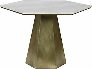 """Most Recently Released Neves 43'' Dining Tables Throughout 43"""" Round Dining Table Metal & Quartz Antique Brass Finish (View 2 of 25)"""