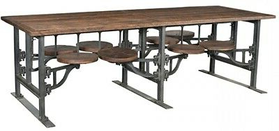 """Most Up To Date Deonte 38'' Iron Dining Tables Intended For 100"""" L Dining Table 8 Attached Stools Industrial Iron Base (View 13 of 25)"""