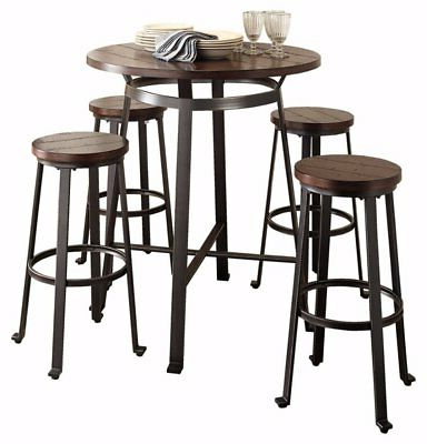 Most Up To Date Dining Room Bar Set 5 Piece Pub Height Round Rustic Brown Regarding Abby Bar Height Dining Tables (View 17 of 25)