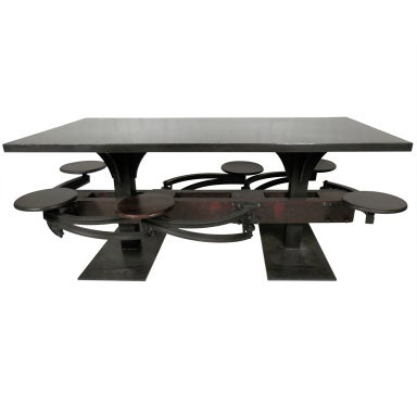 Most Up To Date Impressive Industrial Metal Iron Table W/ Six Swing Out For Dellaney 35'' Iron Dining Tables (View 7 of 25)