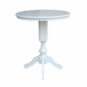 """Newest 36"""" Round Top Pedestal Table With 12"""" Leaf – Dining Pertaining To Liesel Bar Height Pedestal Dining Tables (View 17 of 25)"""