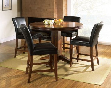 Newest 5 Pc Serena Round Counter Height Pedestal Table Set (with Inside Andreniki Bar Height Pedestal Dining Tables (View 4 of 25)