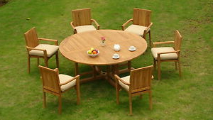 """Newest 72"""" L Breakroom Tables And Chair Set With Regard To 7 Piece Outdoor Teak Dining Set: 72"""" Round Table, (View 2 of 25)"""