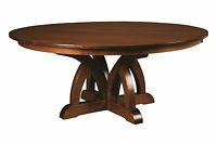 Newest Amish Round Pedestal Dining Table Traditional Kitchen With Monogram 48'' Solid Oak Pedestal Dining Tables (View 3 of 25)