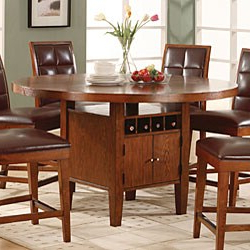 Newest Charterville Counter Height Pedestal Dining Tables Within Round Counter Height Dining Table With Wine Storage Base (View 17 of 25)