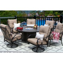 Newest Mcmichael 32'' Dining Tables Throughout Newport Cast Aluminum Outdoor Patio 7pc Set 60 Inch Round (View 22 of 25)
