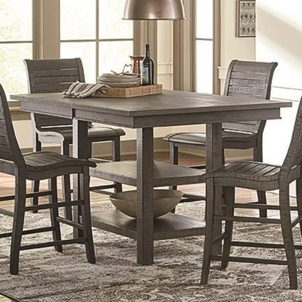 Newest Romriell Bar Height Trestle Dining Tables Within Progressive Furniture Willow Dining Distressed Finish (View 16 of 25)