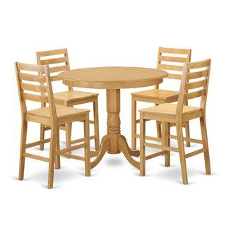 Newest Wes Counter Height Rubberwood Solid Wood Dining Tables Pertaining To Rubberwood Solid 5 Piece Counter Height Pub Dining Set (View 9 of 25)