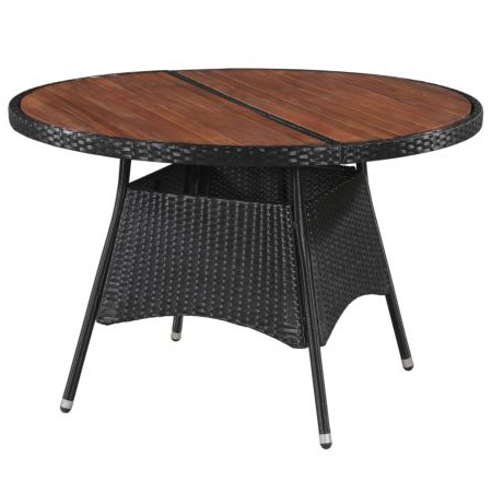 Outdoor Dining Table Poly Rattan And Solid Acacia Wood Within Fashionable Folcroft Acacia Solid Wood Dining Tables (View 13 of 25)