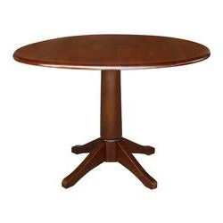 Pedestal Dining Table, Drop Within Popular Boothby Drop Leaf Rubberwood Solid Wood Pedestal Dining Tables (View 7 of 25)