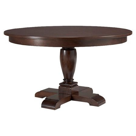 Pedestal Dining Table With An Extendable Turned Base Pertaining To Latest Bineau 35'' Pedestal Dining Tables (View 2 of 25)