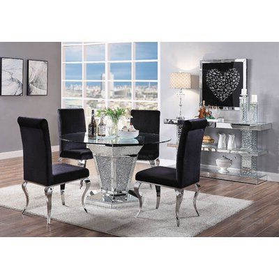 Pedestal Dining Tables Inside Popular House Of Hampton Rutledge Mirrored Pedestal Dining Table (View 10 of 25)