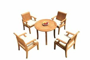 """Pevensey 36'' Dining Tables Regarding Fashionable Dslg A Grade Teak 5pc Dining Set 36"""" Round Table 4 Arm (View 12 of 25)"""