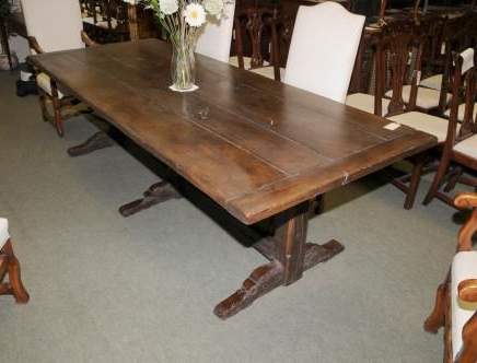 Photo Of Soild Oak Country Refectory Trestle Table Kitchen With Regard To Recent Alexxes 38'' Trestle Dining Tables (View 8 of 25)