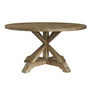 Popular Finkelstein Pine Solid Wood Pedestal Dining Tables Within Benchwright Rustic X Base Round Pine Wood Dining Table (View 8 of 25)