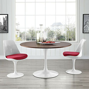 """Popular Mid Century Modern 47"""" Round Walnut Wood Top Metal Within Kohut 47'' Pedestal Dining Tables (View 16 of 25)"""