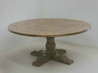 """Popular Pedestal Dining Tables With Regard To 60"""" Restoration Salvaged Rustic Solid Wood Round Trestle (View 21 of 25)"""