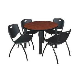 """Popular Round Breakroom Tables And Chair Set In Kee 42"""" Round Breakroom Table Cherry/ Black & 4 'm' Stack (View 9 of 25)"""