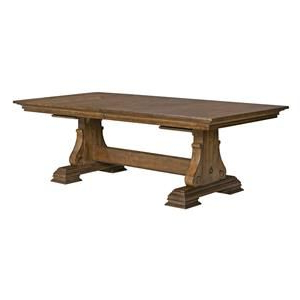 Portolone Solid Wood Trestle Table With Two Extension With Well Known Kara Trestle Dining Tables (View 6 of 25)