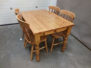 Preferred 4'x3' Farmhouse Dining Kitchen Table Hand Made Solid Pine For Febe Pine Solid Wood Dining Tables (View 14 of 25)