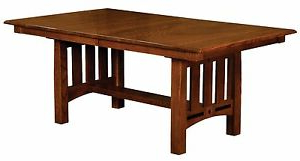 Preferred Amish Mission Craftsman Dining Table Rectangle Trestle For Trestle Dining Tables (View 17 of 25)