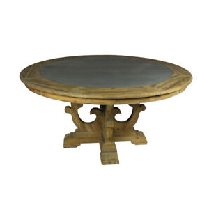 """Preferred Bekasi 63'' Dining Tables Within 63"""" W Round Dining Table Inlaid Zinc Top Old Pine Solid (View 17 of 25)"""
