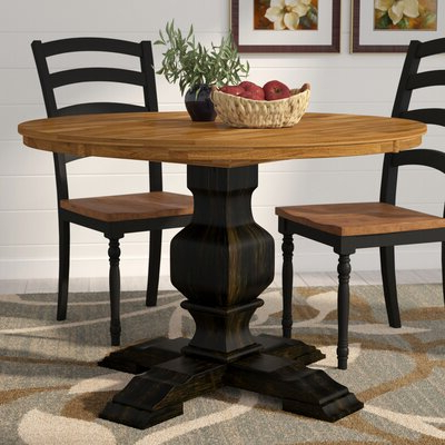Preferred Black Round Kitchen & Dining Tables You'll Love In 2020 For Boothby Drop Leaf Rubberwood Solid Wood Pedestal Dining Tables (View 16 of 25)