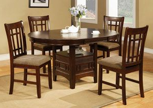 Preferred Gorla 39'' Dining Tables Regarding Empire Espresso Round Dining Room Table W/4 Side Chairs (View 20 of 25)