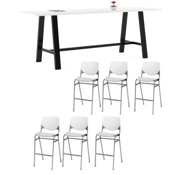 Preferred Kfi Seating Midtown Rectangle Cafe Standing Height Table Regarding Midtown Solid Wood Breakroom Tables (View 12 of 25)