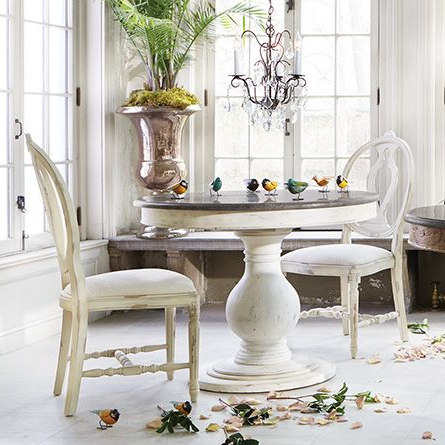 """Preferred Luca 39"""" Round Pedestal Dining Table With Bluestone Top In Inside Serrato Pedestal Dining Tables (View 18 of 25)"""