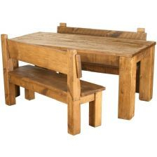 Reagan Pine Solid Wood Dining Tables In Well Known Rustic Plank Solid Pine Dining Table & Pew Bench Set (View 15 of 25)