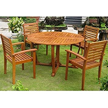 Recent Amazon : International Caravan Iron 5 Piece Patio Within Dellaney 35'' Iron Dining Tables (View 2 of 25)