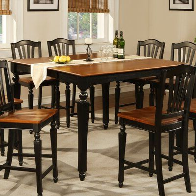 Recent Andrelle Bar Height Pedestal Dining Tables With Regard To Darby Home Co Ashworth Butterfly Leaf Solid Wood (View 9 of 25)