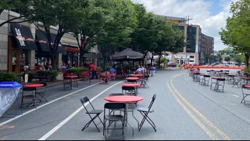 Recent Bethesda Streetery: Streets Close For Outdoor Dining In Throughout Hunsicker Dining Tables (View 7 of 20)