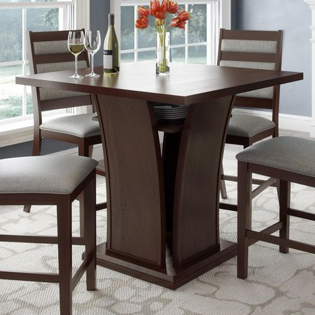 Recent Corliving Bistro Square Curved Base Cappuccino Wood Veneer With Regard To Desloge Counter Height Trestle Dining Tables (View 15 of 25)