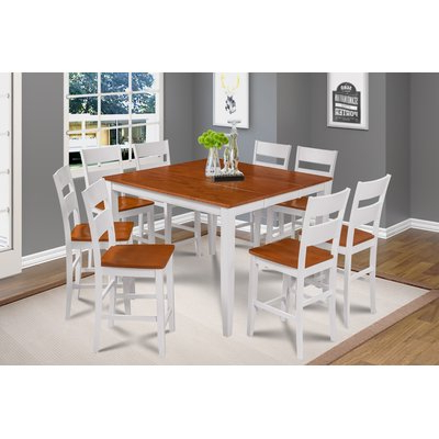 Recent Keown 43'' Solid Wood Dining Tables Within Alcott Hill Bennet Solid Wood 9 Piece Solid Wood Dining (View 11 of 25)