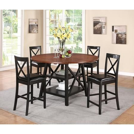 Recent Liesel Bar Height Pedestal Dining Tables With Cst 5 Pc Austin Collection 2 Tone Rustic Oak And Black (View 10 of 25)