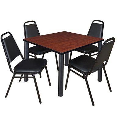 Recent Round Breakroom Tables And Chair Set Pertaining To Symple Stuff Leiser 5 Piece Square Breakroom Table Set (View 7 of 25)