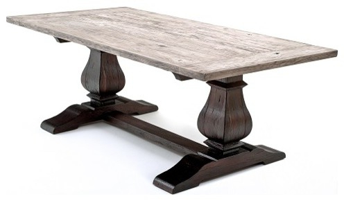Reclaimed Wood Tuscan Trestle Base Table – Traditional Intended For Well Known Trestle Dining Tables (View 11 of 25)