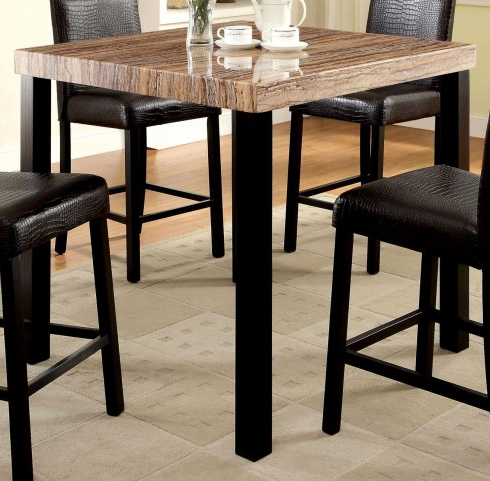 Rockham Ii Black Faux Marble Top Square Counter Height Leg With Regard To Best And Newest Overstreet Bar Height Dining Tables (View 9 of 25)