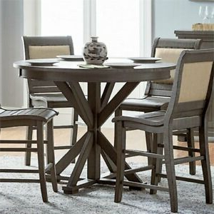 """Romriell Bar Height Trestle Dining Tables Regarding Most Popular Progressive Willow 48"""" Round Counter Height Dining Table (View 2 of 25)"""