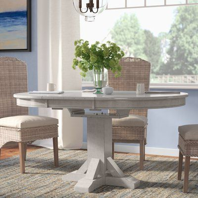 Rosecliff Heights Rutledge Pedestal Extendable Solid Wood Inside Fashionable Rubberwood Solid Wood Pedestal Dining Tables (View 19 of 25)