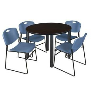 """Round Breakroom Tables And Chair Set Pertaining To Most Popular Kee 48"""" Round Breakroom Table Mocha Walnut/ Black & (View 14 of 25)"""