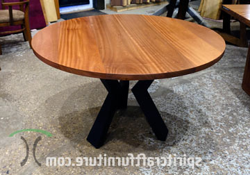 Round Custom Made Solid Wood Dining – Conference Tables Throughout Well Known Geneve Maple Solid Wood Pedestal Dining Tables (View 11 of 25)