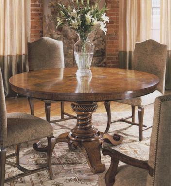 """Round Mappa Burl Walnut Dining Room Table (60"""") – Lock Inside Most Recently Released Steven 55'' Pedestal Dining Tables (View 2 of 25)"""
