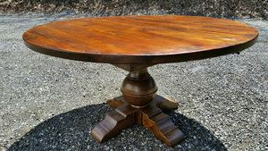 """Round Pedestal Table With Globe Base 2"""" Top Custom Sizes With Most Current Finkelstein Pine Solid Wood Pedestal Dining Tables (View 10 of 25)"""