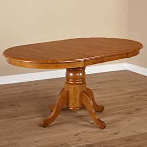 Rubberwood Solid Wood Pedestal Dining Tables Pertaining To Latest Amazon – Simple Living Oak Rubberwood Round/ Oval (View 21 of 25)