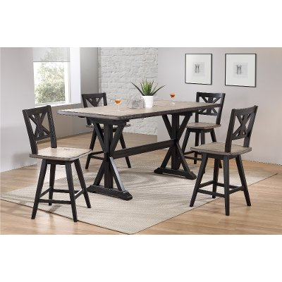 Sand And Black 5 Piece Counter Height Dining Set – Orlando Inside 2020 Counter Height Dining Tables (View 3 of 25)